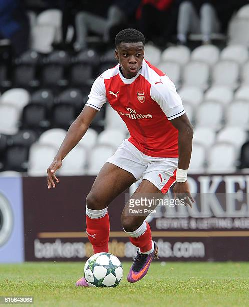 Stephy Mavididi of Arsenal during the match between Arsenal and Ludogorets Razgrad in the UEFA Youth League at Meadow Park on October 19 2016 in...