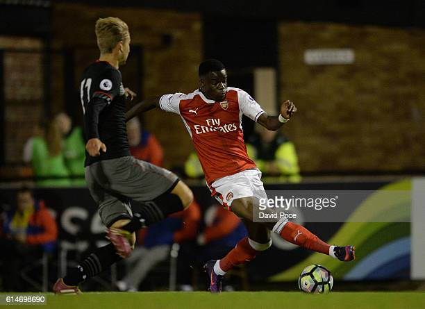 Stephy Mavididi of Arsenal takes on Ollie Cook of Southampton during the match between Arsenal U23 and Southampton U23 at Meadow Park on October 14...