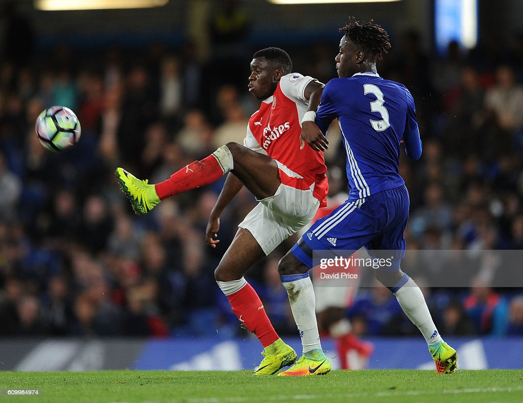 Stephy Mavididi of Arsenal takes on Trevoh Chalobah of Chelsea during the match between Chelsea U23 and Arsenal U23 at Stamford Bridge on September 23, 2016 in London, England.