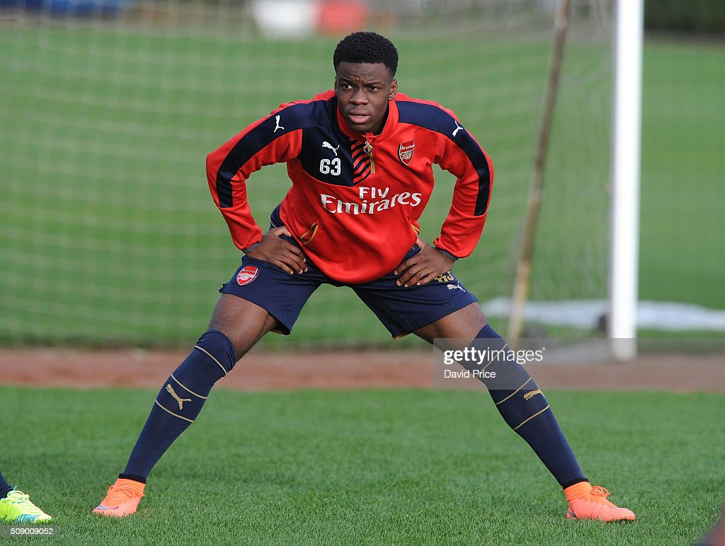 Stephy Mavididi of Arsenal the U19 team during their training session at London Colney on February 8, 2016 in St Albans, England.