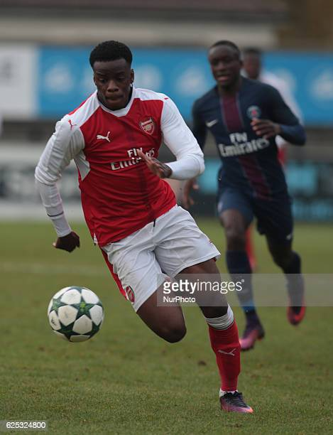 Stephy Mavididi of Arsenal Under 19 during UEFA Youth League match between Arsenal against Paris SaintGermain at BorehamWood Football Club on...