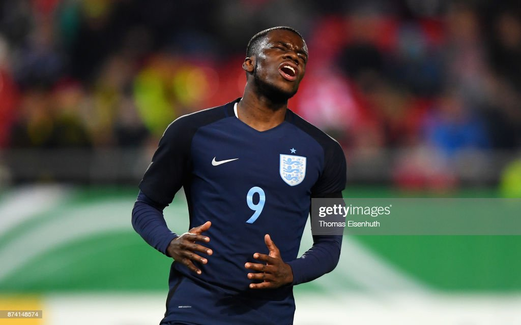 Stephy Mavididi of England reacts during the Under 20 International Friendly match between U20 of Germany and U20 of England at Stadion Zwickau on November 14, 2017 in Zwickau, Germany.