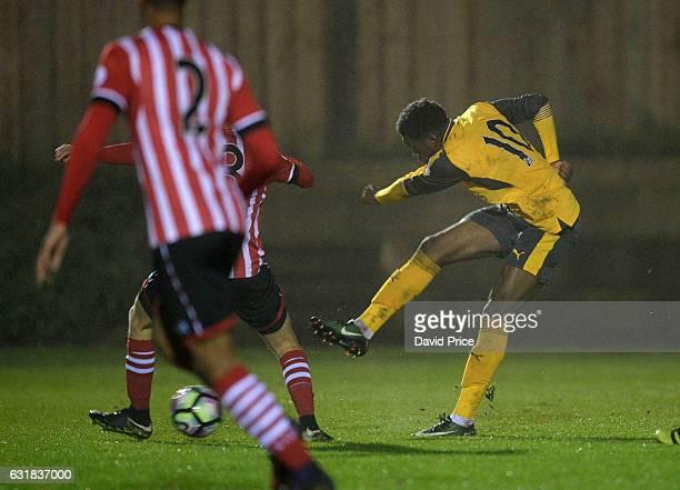 Stephy Mavididi scores Arsenal's 1st goal during the match between Southampton U23 and Arsenal U23 at Southampton Training Ground on January 16 2017...