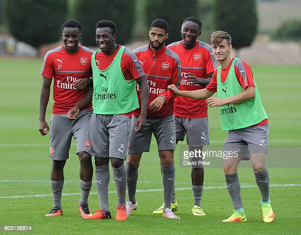 Stephy Mavididi Tolaji Bola Kris Da Graca Josh Dasliva and Vlad Dragomir of Arsenal during the Arsenal UEFA Youth League Training Session at London...