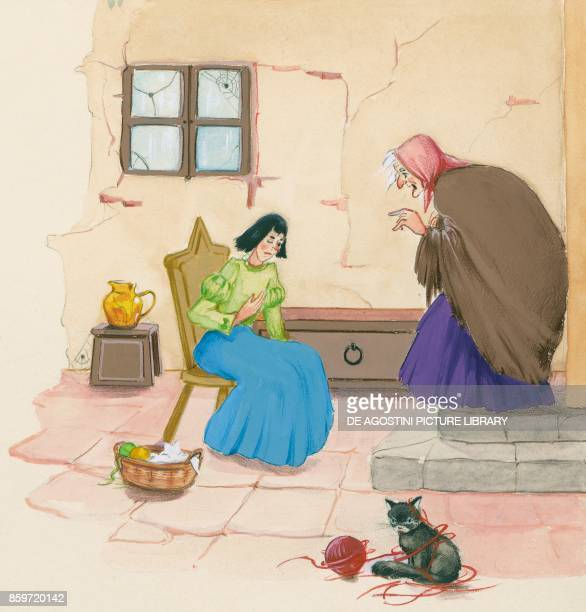 Stepmother and her daughter illustration for Brother and Sister fairy tale by the Grimm brothers Jacob and Wilhelm drawing