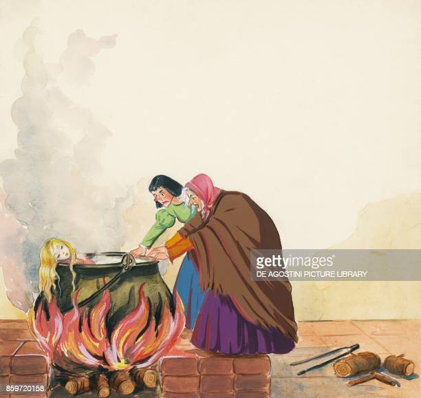 Stepmother and her daughter putting Sister in the pot illustration for Brother and Sister fairy tale by the Grimm brothers Jacob and Wilhelm drawing