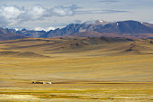 Steppe landscape with a nomad's camp
