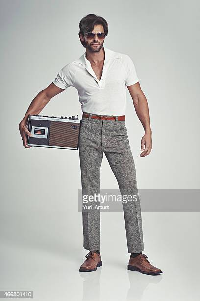 Stepping out with his tunes - 70s style!