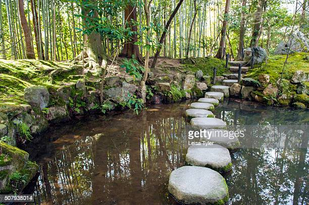 Stepping stones in a pond at Nanzenji a Zen Buddhist temple established it in 1291 in Kyoto's Higashiyama district