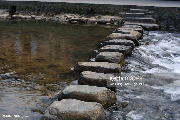 Stepping stones in river