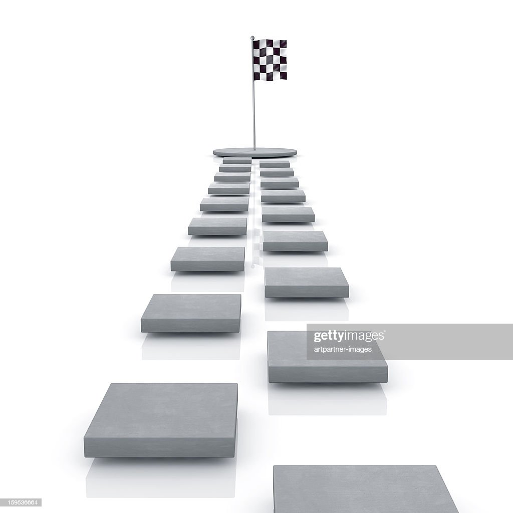 Stepping Stones lead to a checkered flag on white : Stock Photo