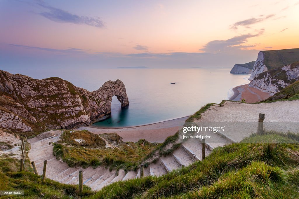 Steps down to Durdle Door : Stock Photo