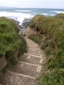 Steps down to the beach Gwithian Cornwall UK