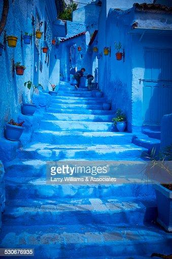 Steps of colorful blue historical village