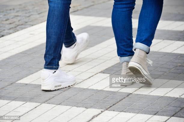Steps on zebra crossing