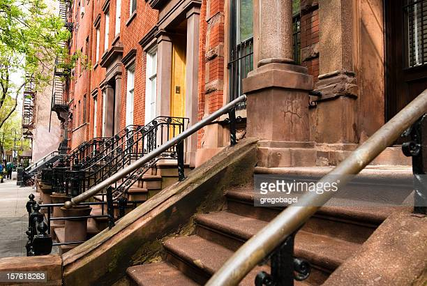 Steps up to brownstone in Greenwich Village neighborhood of Manhattan