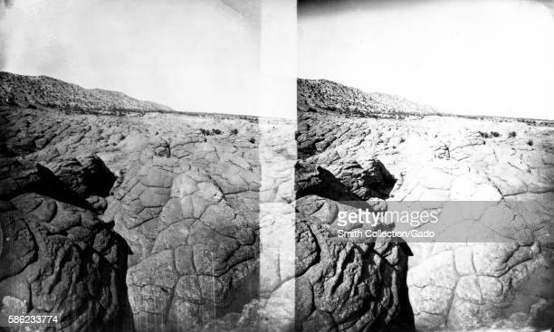 Stereograph documenting polygonal weathering on rocky terrain 1875 Image courtesy USGS