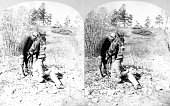 Stereograph featuring a USGS employee creating a sketch while another looks over his shoulder Rocky Mountains of Colorado 1874 Image courtesy USGS