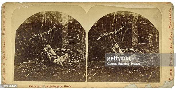 Stereograph shows a young Native American child asleep in a hammock strung up between tree branches in a forest mid 19th Century Text reads in part...