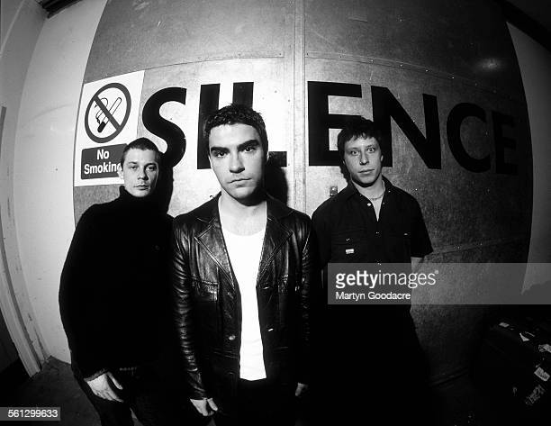 Stereophonics backstage at Manchester Apollo LR Richard Jones Kelly Jones Stuart Cable United Kingdom 1999