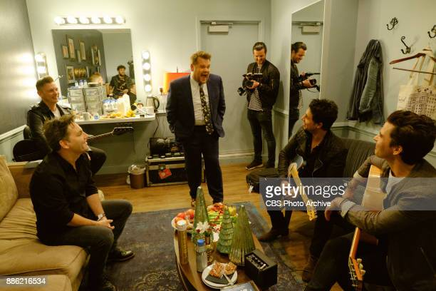 Stereophonics chat in the green room with James Corden during 'The Late Late Show with James Corden' Monday December 4 2017 On The CBS Television...