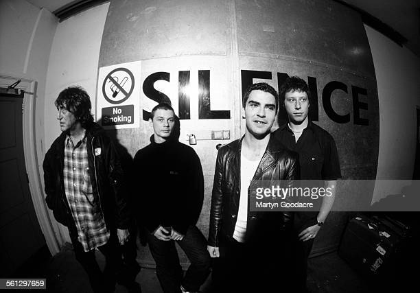 Stereophonics with Howard Marks backstage at Manchester Apollo LR Howard Marks Richard Jones Kelly Jones Stuart Cable United Kingdom 1999