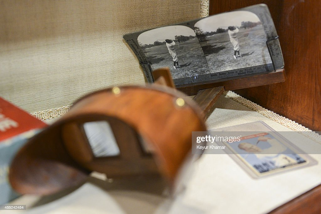 A stereoscope viewer featuring instructional images of Bobby Jones finishing a mashie pitch swing on display in the Bobby Jones room at East Lake Golf Club on August 27, 2014 in Atlanta, Georgia. East Lake will host the TOUR Championship by Coca-Cola, the final event of the FedExCup Playoffs, from Sep. 10 through Sep. 14.