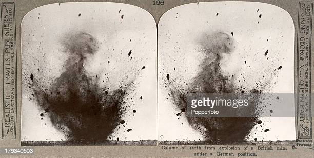 A stereoscopic image of a column of earth from an explosion of a British mine under a German position during World War One circa 1916