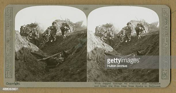 A stereoscopic image of allied troops leaving a trench to attack German positions between Epehy and Bellicourt France World War I 1918 The original...
