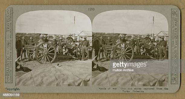 A stereoscopic image of Allied troops with artillery pieces and stores captured from Ottoman Turkish forces Palestine World War I circa 1916 The...