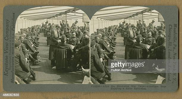 A stereoscopic image of American troops on a pleasure boat for a trip on the Rhine during the allied Occupation of the Rhineland after World War I...
