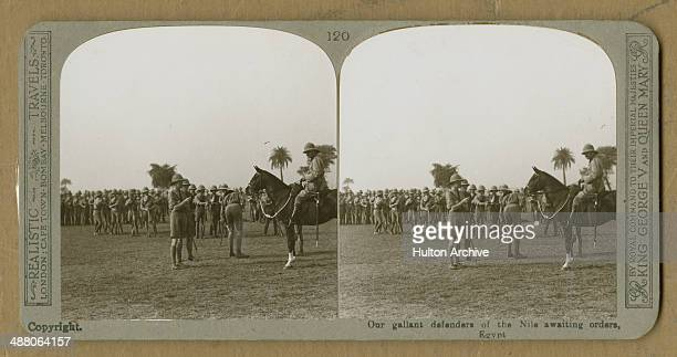 A stereoscopic image of British troops in Egypt during World War I circa 1916 The original caption reads 'Our gallant defenders of the Nile awaiting...