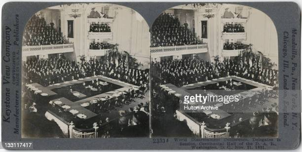 A stereoscopic image of delegates in session at the World Disarmament Conference in the Daughters of the American Revolution Memorial Continental...