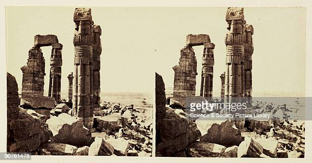 A stereoscopic photograph of ruined columns at the temple of Soleb Northern Sudan taken in 1859 by Francis Frith This image is one of a series of one...