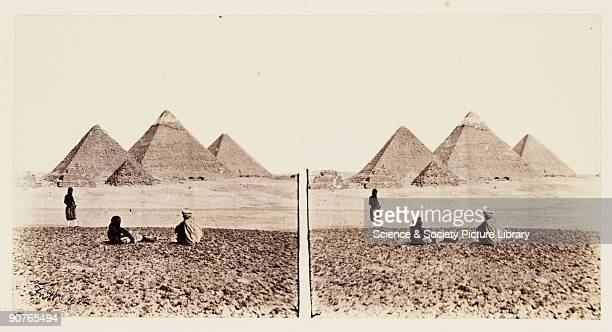 A stereoscopic photograph of the pyramids at Giza Egypt taken in 1859 by Francis Frith This is from a series of 100 stereoscopic photographs taken by...