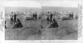 Stereoscopic photograph shows striking steel workers on a hill above the Carnegie Steel Company's Homestead Steel Works Homestead Pennsylvania July...