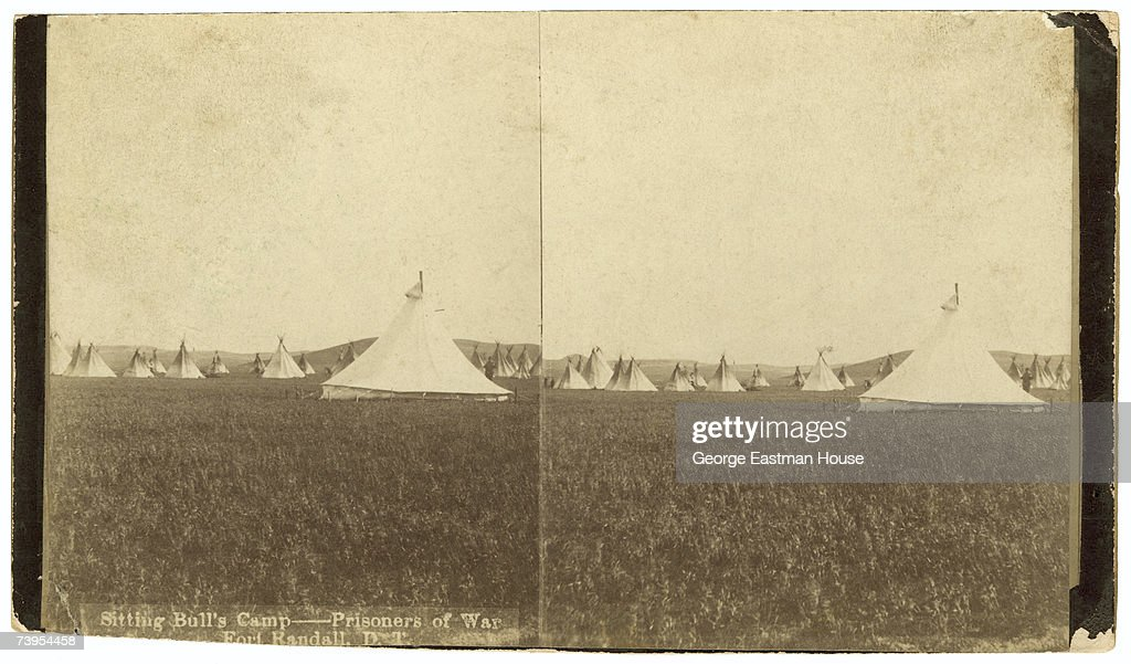Stereoscopic view of the prisoner of war camp of Lakota chief Sitting Bull and his men Fort Randall South Dakota early 1880s