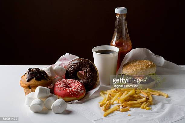 Stereotypical American fast food meal and snack food