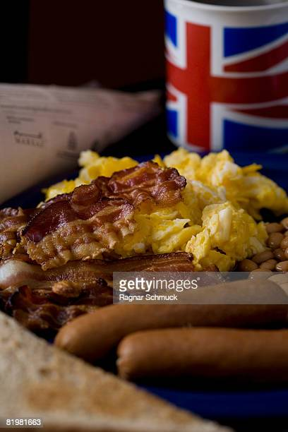 Stereotypical English Breakfast, still life, close up