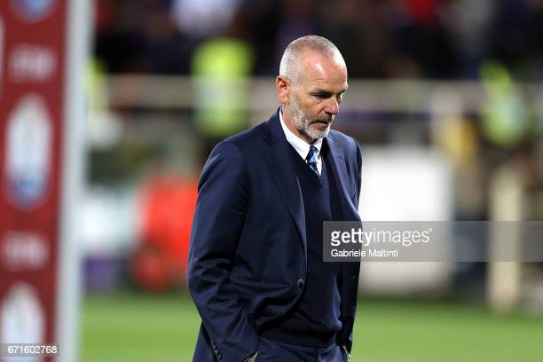 Sterfano Pioli manager of FC Internazionale shows his dejection during the Serie A match between ACF Fiorentina v FC Internazionale at Stadio Artemio...