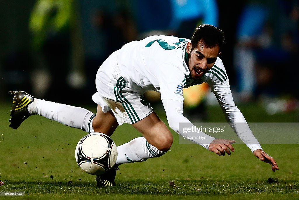 Stergos Marinos of Panathinaikos is seen in action during the Superleague match between Asteras Tripolis and Panathinaikos FC at Asteras Tripolis Stadium on February 2, 2013 in Tripolis, Greece.