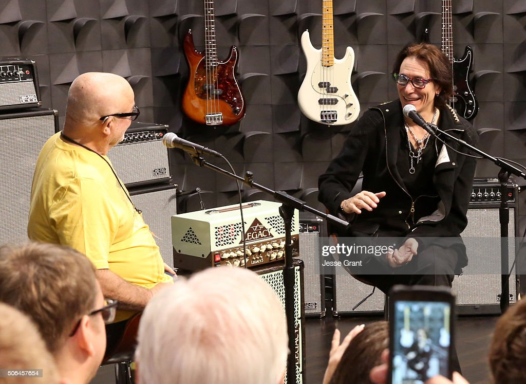 Sterling Ball and guitarist Steve Vai speak on stage during day 3 of the 2016 NAMM Show at the Anaheim Convention Center on January 23 2016 in...
