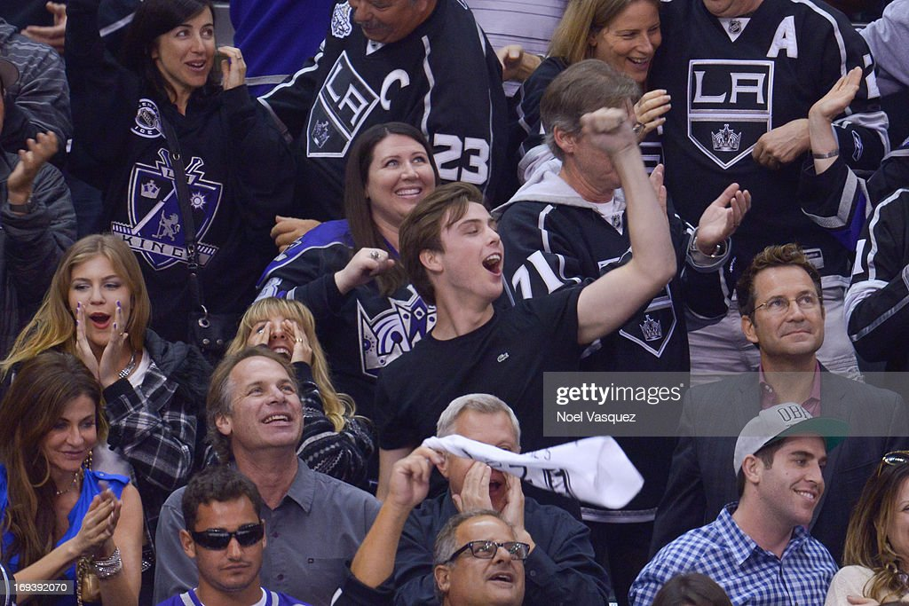 Sterling Beaumon attends an NHL playoff game betweent he San Jose Sharks and the Los Angeles Kings at Staples Center on May 23, 2013 in Los Angeles, California.