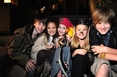 Sterling Beaumon Madison Pettis Noah Cyrus Emily Grace Reaves and Luke Benward hang out on the set of 'Mostly Ghostly' at the Universal Studio Elm...