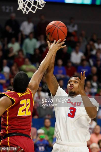 Sterling Brown of the Southern Methodist Mustangs attempts a shot over De'Anthony Melton of the USC Trojans during the 2017 NCAA Men's Basketball...