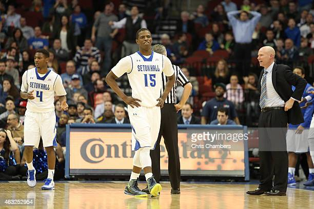 Sterling Gibbs Isaiah Whitehead and head coach Kevin Willard of the Seton Hall Pirates against the Georgetown Hoyas during their Big East Conference...