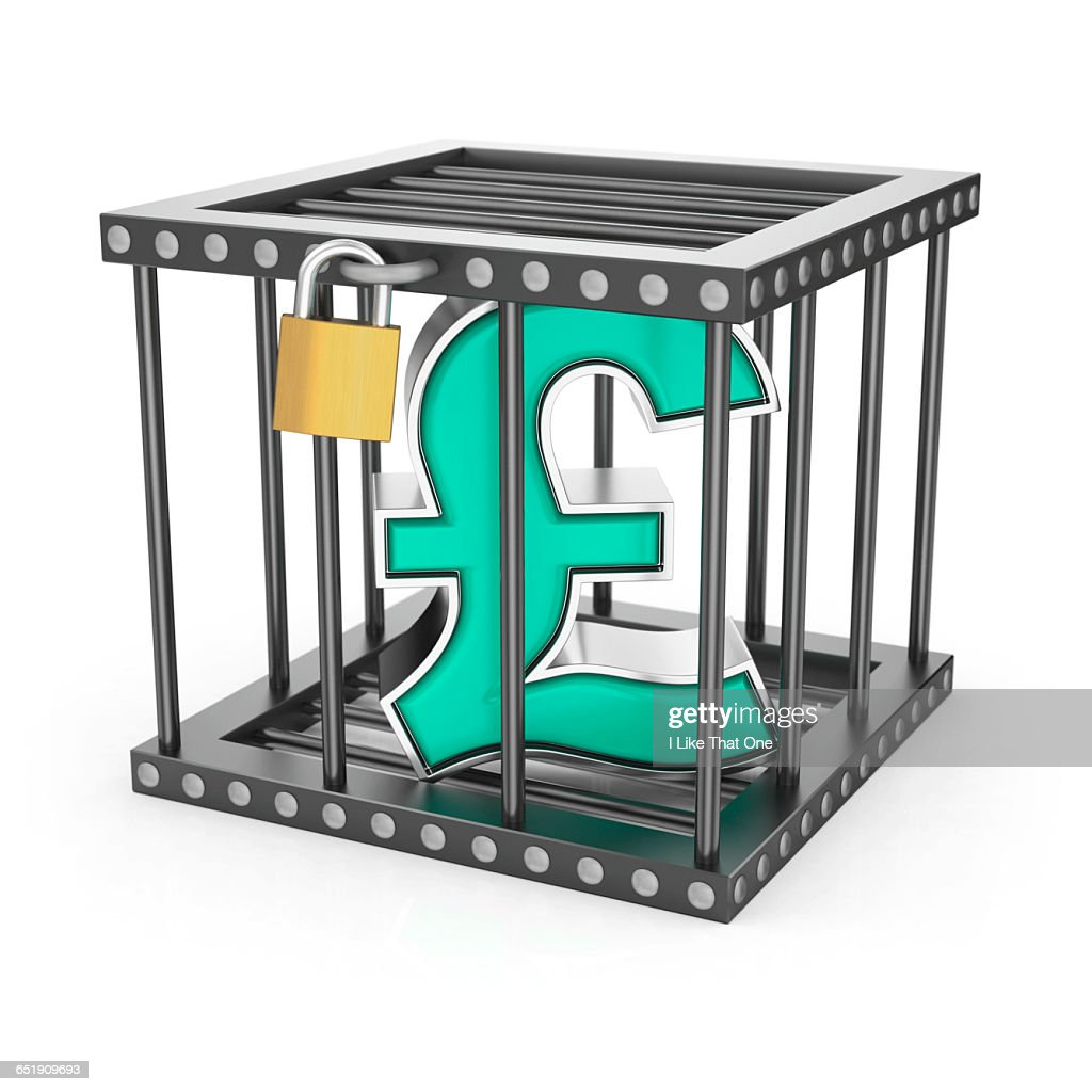 Sterling pound symbol locked inside a steel cage : Stock Photo