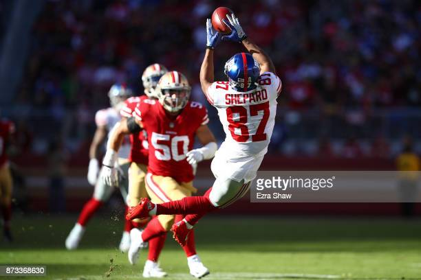 Sterling Shepard of the New York Giants makes a catch against the San Francisco 49ers during their NFL game at Levi's Stadium on November 12 2017 in...