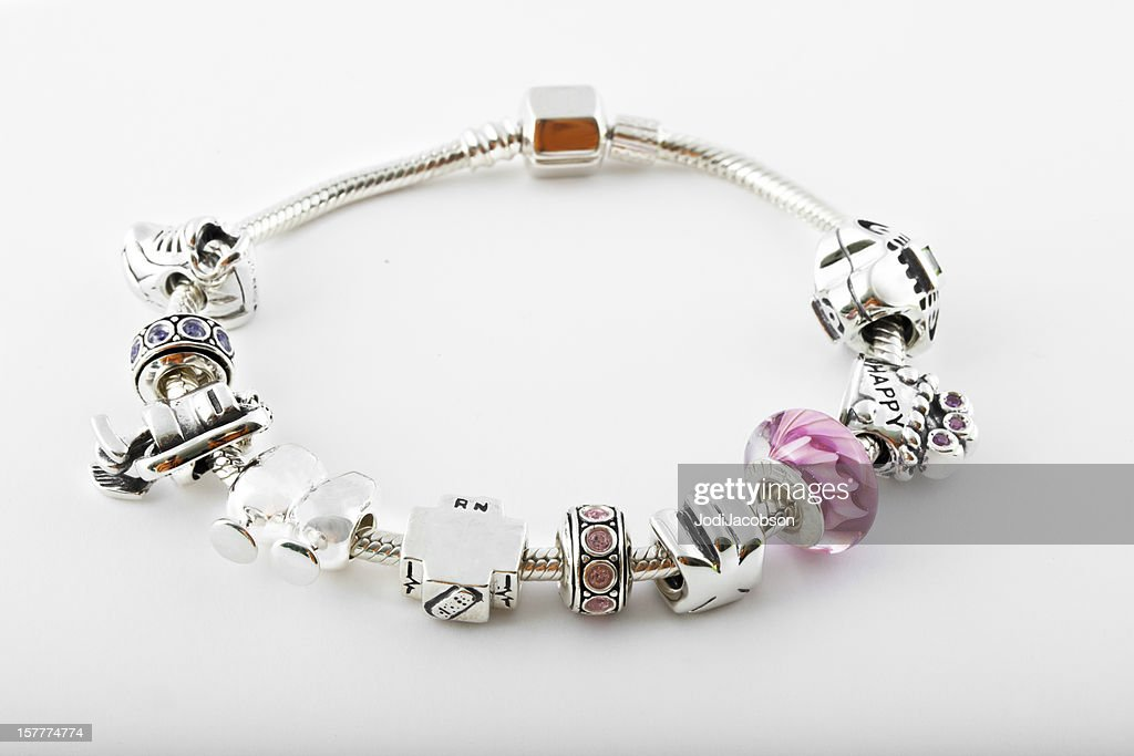 Sterling silver Charm Bracelet : Stock Photo