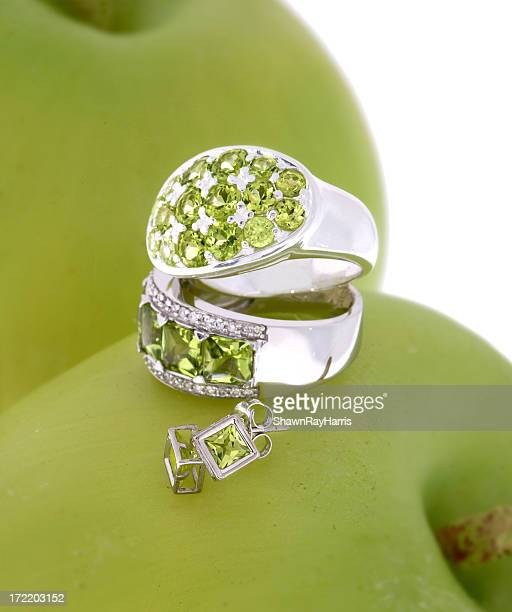 Sterling silver rings and earring with set Peridot jewelry